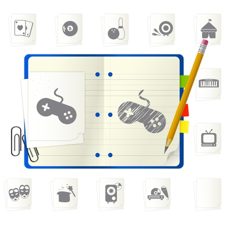 Open notepad with different icons Stock Vector - 9892860