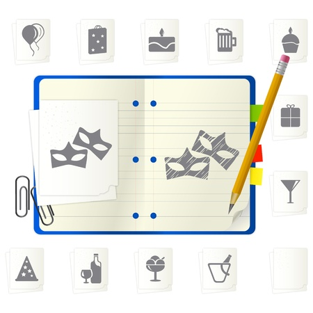 open notepad with different icons Stock Vector - 9892844