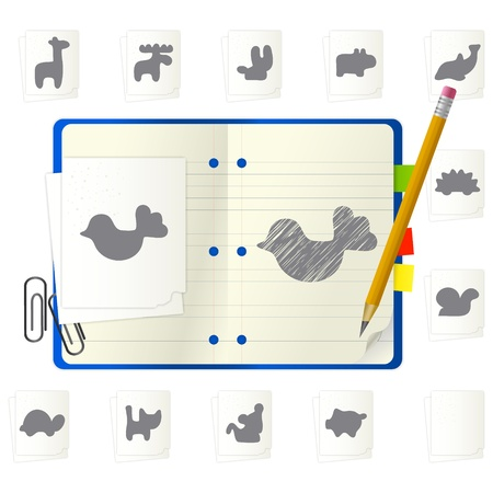 open notepad with different icons Vector