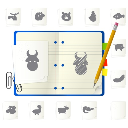 open notepad with different icons Stock Vector - 9892848