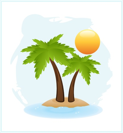 sand drawing: tropical palm on exotic island