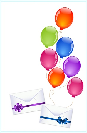 envelopes with colorful balloons  Vector