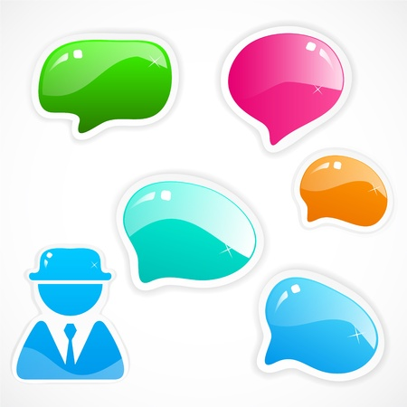 think up: set of colorful speech bubbles Illustration