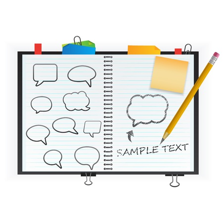 cuaderno espiral: Bloc de notas con burbujas de discurso Vectores