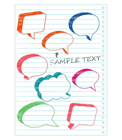 speech marks: speech bubbles on a notepad page