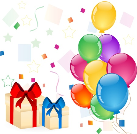 colorful balloons with gift boxes Illustration