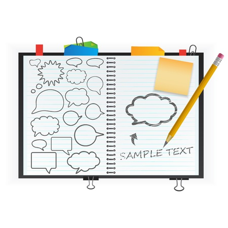 thinking bubble: notepad with speech bubbles