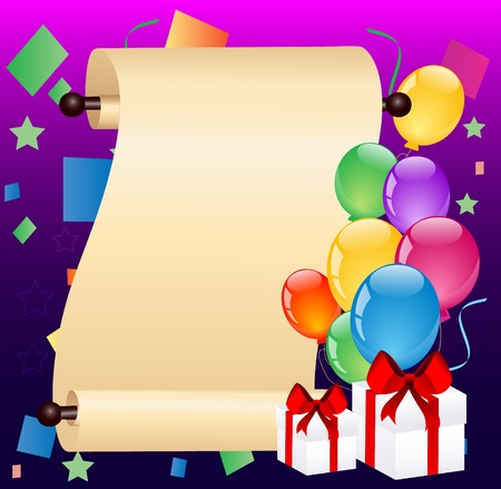 scrolled paper with balloons Stock Vector - 10197950
