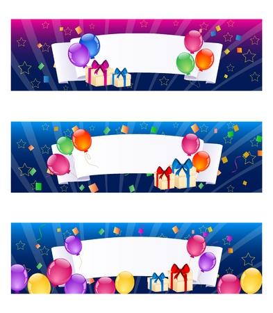 anniversary party: Striscioni palloncini colorati Vettoriali