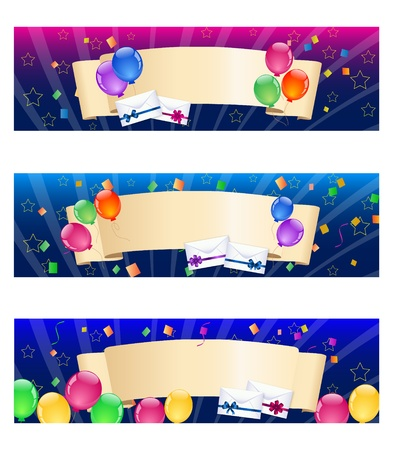 cartoon envelope: Colorful balloon banners