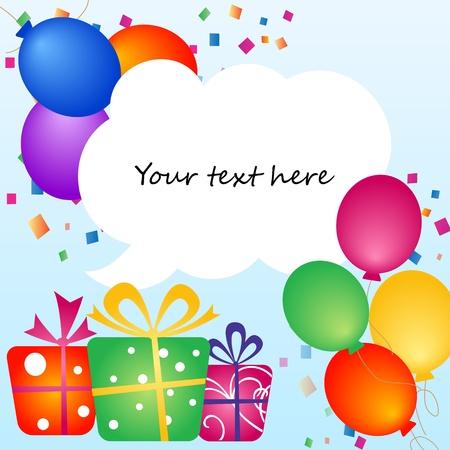 geburtstag rahmen: Bunte Luftballons mit Platz f�r Ihren Text