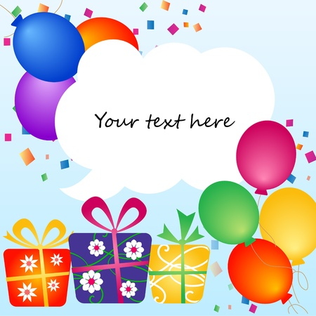 your text: colorful balloons with place for your text