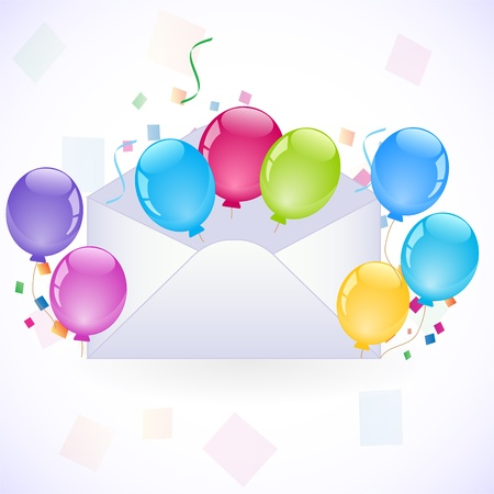 party invitation with coloful balloons Stock Vector - 10597515