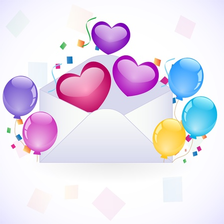 coloful: party invitation with coloful balloons Illustration