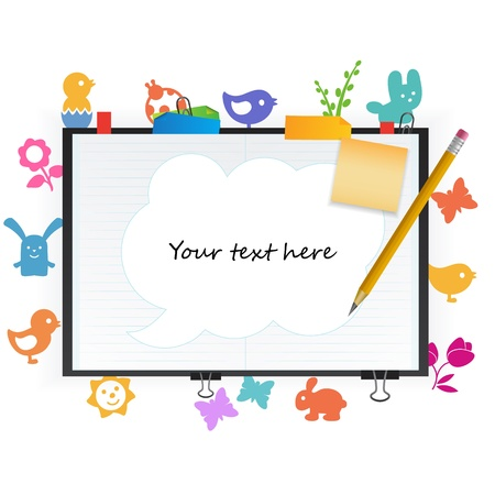 note pad and pen: open notepad with place for text