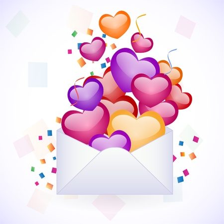 cartoon envelope: invitation with colorful hearts Illustration