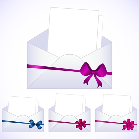 set of envelopes with ribbons Stock Vector - 10645485