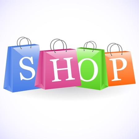 shopping cartoon: colorful shopping bags