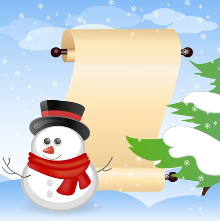 scroll up: christmas card with place for your text Illustration