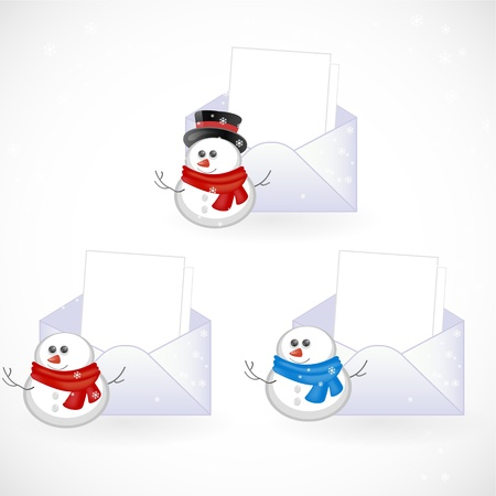 invitation with different snowmans Vector
