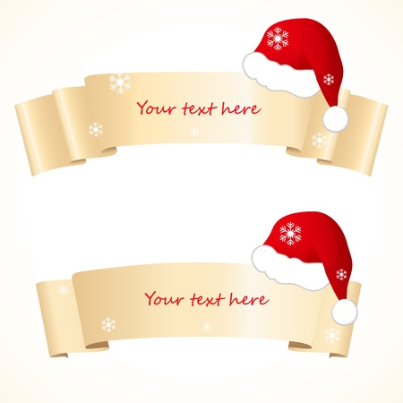 christmas scroll: christmas banners with santa hat Illustration