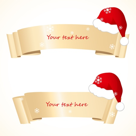 santa       hat: christmas banners with santa hat Illustration