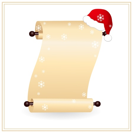 scrolled paper with red santa hat Vector