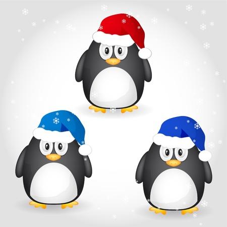 background antarctica: set of christmas penguin