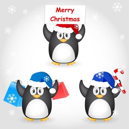 set of christmas penguin Vector