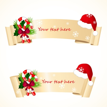 christmas banners with santa hat Illustration