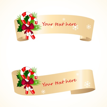 pine boughs: christmas banners with santa hat Illustration