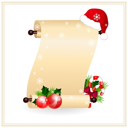 scroll up: scrolled paper with red santa hat Illustration