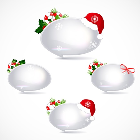 pine boughs: set of speech bubbles with christmas decoration