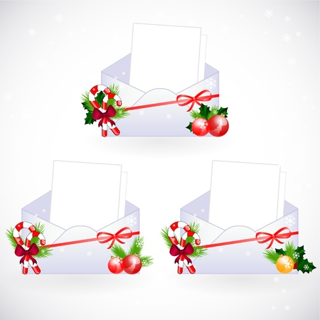 pine boughs: set of envelopes with christmas decoration