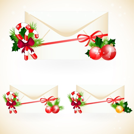 pine boughs: vector set of envelopes with christmas decoration Illustration