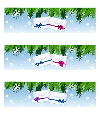 pine boughs: christmas colorful banners