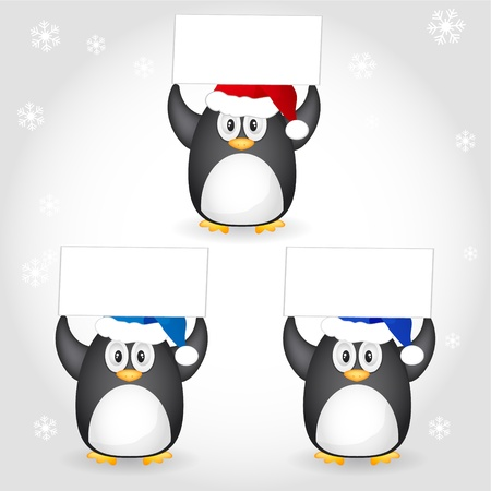 christmas with santa hat penguin Vector