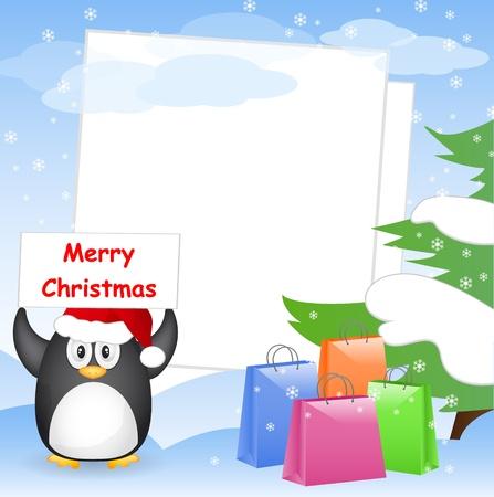 pinguinos navidenos: tarjeta de navidad con lugar para el texto Vectores