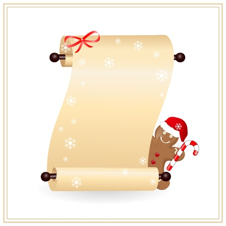scrolled: scrolled paper witn gingerbread cookie