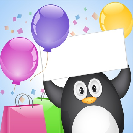 penguin with surprise Vector