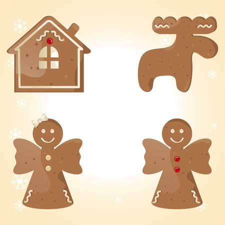 christmas cracker: different gingerbread cookie Illustration