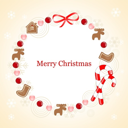 christmas frame with gingerbread cookie Vector