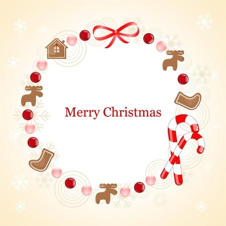 Weihnachten Rahmen mit Lebkuchen Illustration