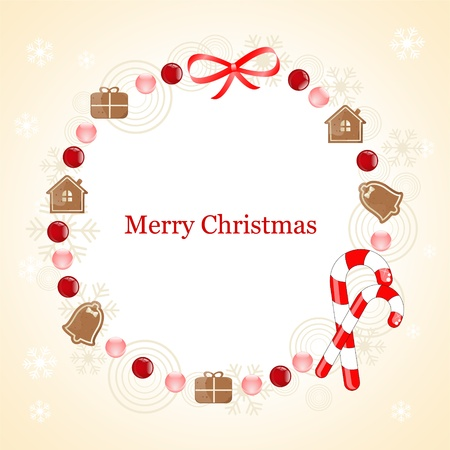 christmas frame with gingerbread cookie Stock Vector - 10834208