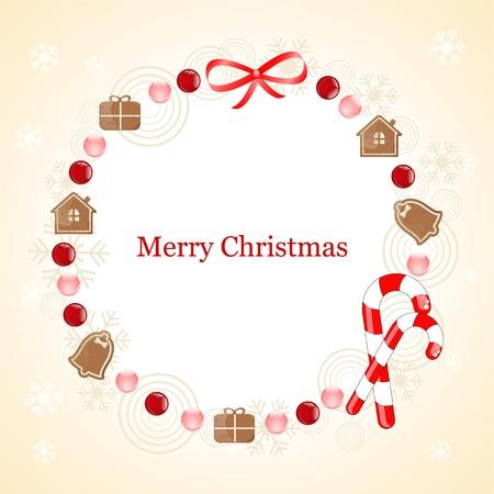 casita de dulces: Marco de la Navidad con la galleta de jengibre