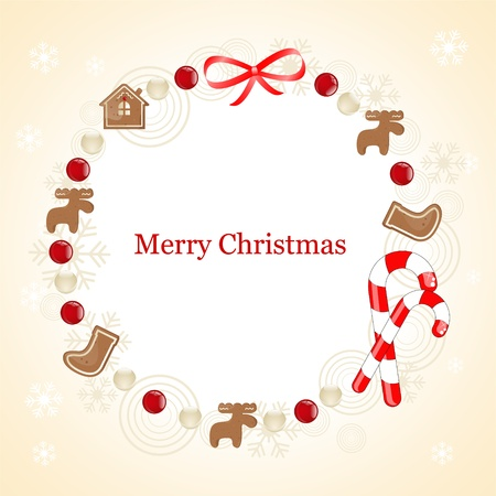 christmas frame with gingerbread cookie Stock Vector - 10834211