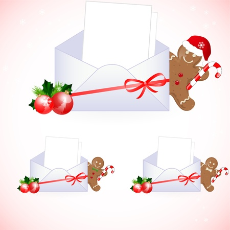 envelopes with christmas decoration Vector