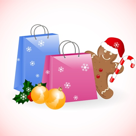 christmas bags with gingerbread man Vector