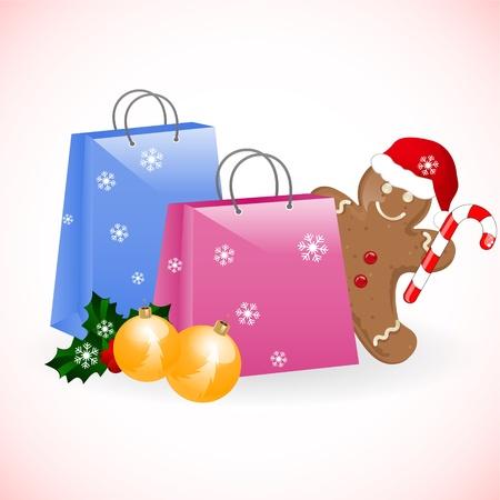 galletas de jengibre: Navidad con bolsas de hombre de jengibre Vectores