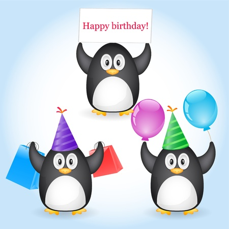 penguin with greeting Stock Vector - 10874701